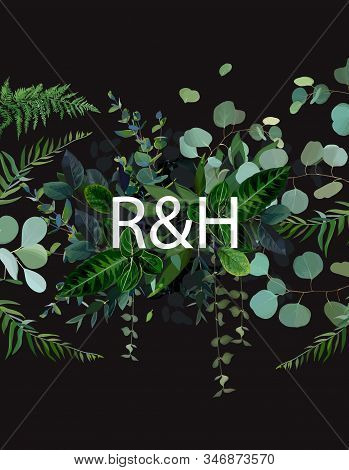 Tropical Flat Lay Background Arranged From Exotic Emerald Leaves For Logo Or Title. Paradise Plants,