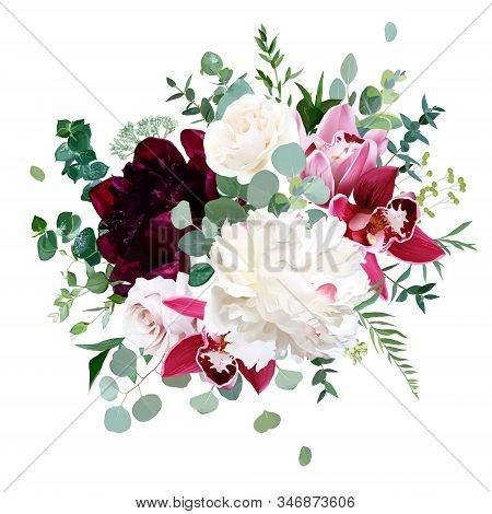 Elegant Floral Vector Bouquet With White And Burgundy Red Peony, Dusty Pink Rose, Cymbidium Orchid F