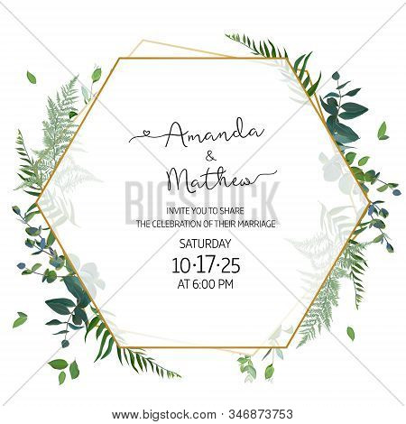 Herbal Minimalist Geometric Vector Frame. Hand Painted Plants, Branches, Leaves On White Background.