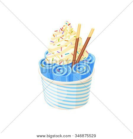 Basket Of Stir Fried Blue Ice Cream Bubble Gum Rolls Under Whipped Cream Decorated With Colored Suga