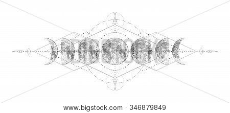 Magic Moon With Sacred Geometry Tattoo Design. Monochrome Hand Drawn Vector Illustration, Isolated O