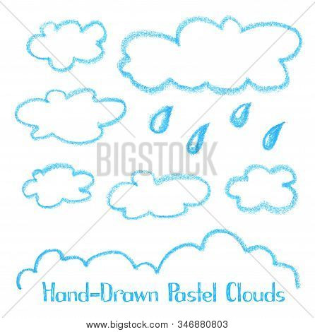 Crayon Blue Clouds On White Background. Cloud Hand-drawn Illustration Isolated. Kids Art Drawing. Ou