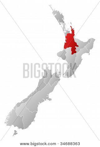 Map Of New Zealand, Waikato Highlighted