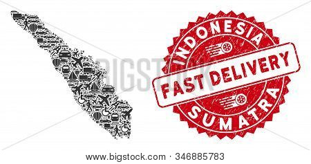 Delivery Mosaic Sumatra Island Map And Grunge Stamp Watermark With Fast Delivery Message. Sumatra Is