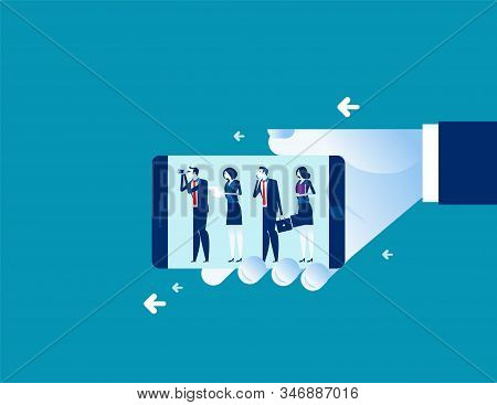 Leader With Looking For Investment. Business Vector Concept. Teamwork, Aspirations, Searching.