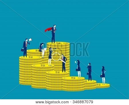 Investor With Different Investment Capital. Business Vector Concept, Financial, Staircase And Steps,