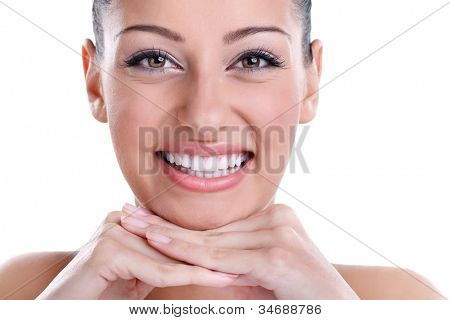 Beautiful smiling with healthy perfect teeth poster