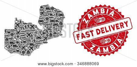 Logistics Collage Zambia Map And Grunge Stamp Seal With Fast Delivery Phrase. Zambia Map Collage Des