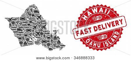 Travel Mosaic Oahu Island Map And Rubber Stamp Seal With Fast Delivery Caption. Oahu Island Map Coll