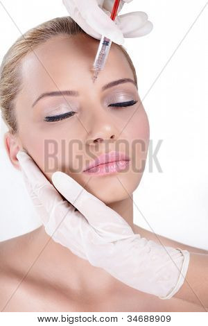 Cosmetic injection in the female face, eye and eyebrow zone
