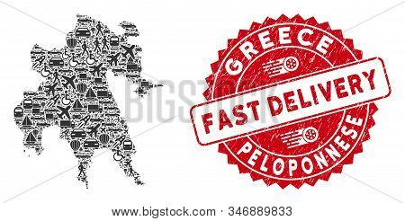 Deliver Collage Peloponnese Peninsula Map And Corroded Stamp Watermark With Fast Delivery Caption. P