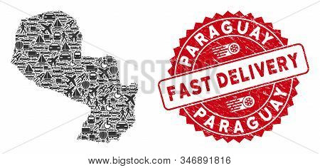 Travel Mosaic Paraguay Map And Distressed Stamp Watermark With Fast Delivery Text. Paraguay Map Coll