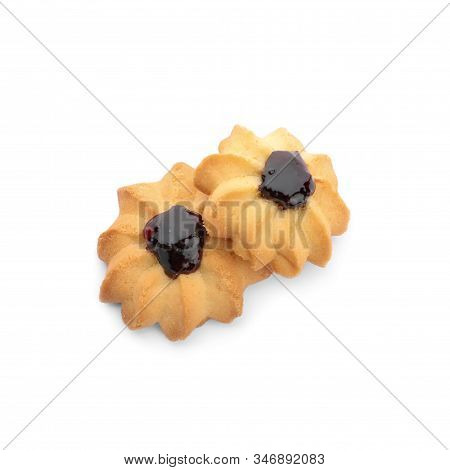 Tasty Shortbread Cookies With Jam Isolated On White, Top View