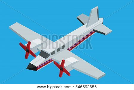 Small Private Airline Isometric Model. Vector New