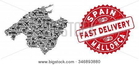 Shipping Collage Mallorca Map And Distressed Stamp Seal With Fast Delivery Text. Mallorca Map Collag
