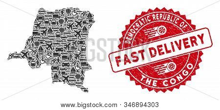 Delivery Collage Democratic Republic Of The Congo Map And Grunge Stamp Watermark With Fast Delivery