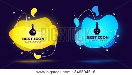 Black Glass Bottle With Magic Elixir Icon Isolated On Blue Background. Computer Game Asset. Set Abst