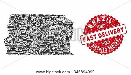 Delivery Collage Brazil Distrito Federal Map And Distressed Stamp Seal With Fast Delivery Phrase. Br