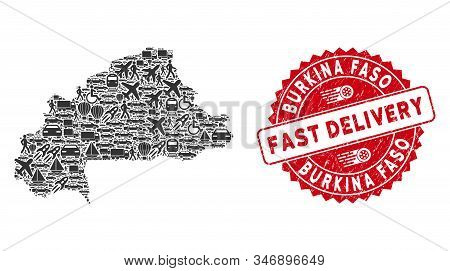 Transport Collage Burkina Faso Map And Distressed Stamp Watermark With Fast Delivery Caption. Burkin