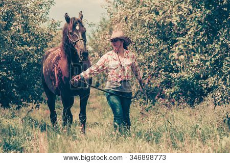 Animal And Human Love, Equine Concept. Western Woman Walking On Green Meadow Or Forest With Horse