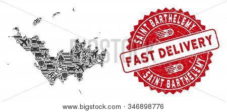 Shipping Collage Saint Barthelemy Map And Grunge Stamp Seal With Fast Delivery Message. Saint Barthe