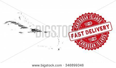 Delivery Collage Caribbean Islands Map And Rubber Stamp Seal With Fast Delivery Badge. Caribbean Isl