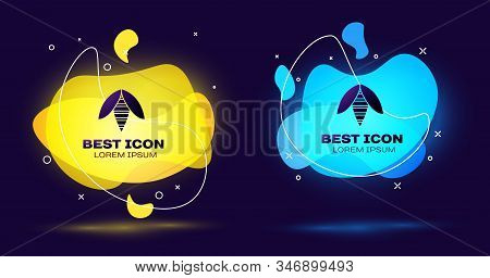 Black Bee Icon Isolated On Blue Background. Sweet Natural Food. Honeybee Or Apis With Wings Symbol.