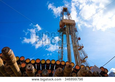 Drilling Rig In Oil Field For Drilled Into Subsurface In Order To Produced Crude, Inside View. Petro