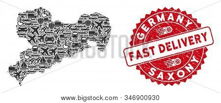 Transport Collage Saxony Land Map And Rubber Stamp Watermark With Fast Delivery Message. Saxony Land