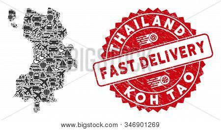 Shipping Collage Koh Tao Thai Island Map And Rubber Stamp Seal With Fast Delivery Text. Koh Tao Thai
