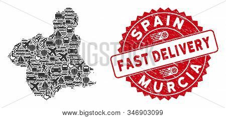 Transportation Collage Murcia Province Map And Rubber Stamp Seal With Fast Delivery Text. Murcia Pro