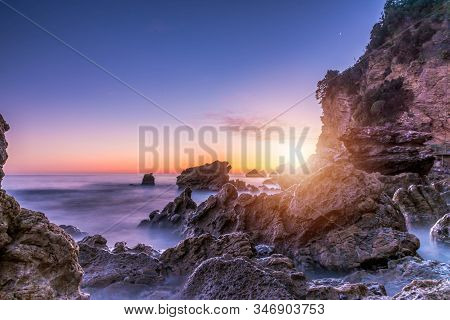 Sea Scape With Rocks, Long Exposure.tropical Rocky Beach At Sunset, Located In Budva, Montenegro, Ad