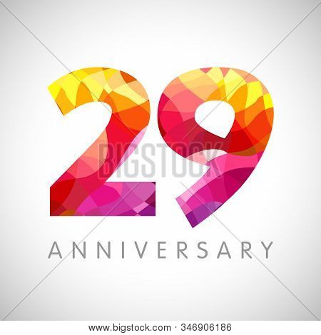 29 Th Anniversary Numbers. 29 Years Old Facet Logotype. Age Congrats, Congratulation Idea. Isolated