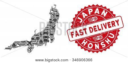 Logistics Mosaic Honshu Island Map And Grunge Stamp Seal With Fast Delivery Message. Honshu Island M