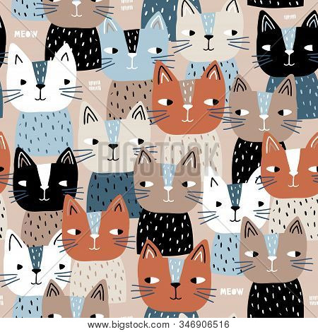 Semless Trendy Pattern With Cute Cats. Scandinaviann Style Childish Texture For Fabric, Textile, App