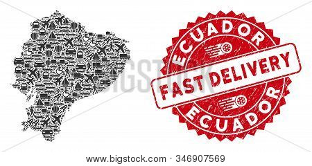 Deliver Collage Ecuador Map And Grunge Stamp Watermark With Fast Delivery Caption. Ecuador Map Colla