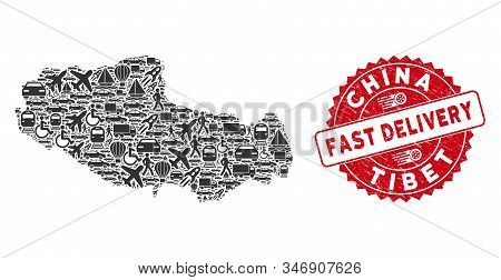 Travel Collage Tibet Chinese Territory Map And Grunge Stamp Seal With Fast Delivery Message. Tibet C