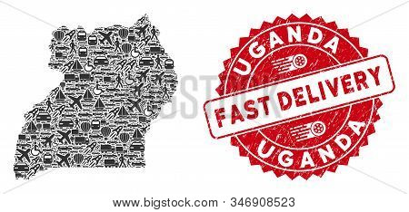 Travel Mosaic Uganda Map And Corroded Stamp Seal With Fast Delivery Phrase. Uganda Map Collage Desig