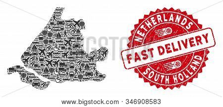 Delivery Collage South Holland Map And Grunge Stamp Seal With Fast Delivery Words. South Holland Map