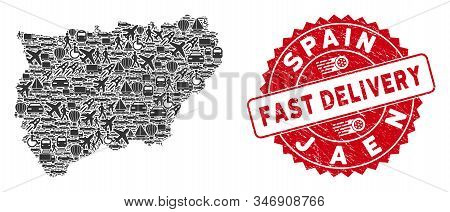 Deliver Collage Jaen Spanish Province Map And Rubber Stamp Seal With Fast Delivery Text. Jaen Spanis