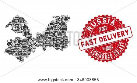Transportation Collage Leningrad Oblast Map And Grunge Stamp Watermark With Fast Delivery Message. L