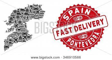 Transport Mosaic Pontevedra Province Map And Grunge Stamp Seal With Fast Delivery Caption. Pontevedr