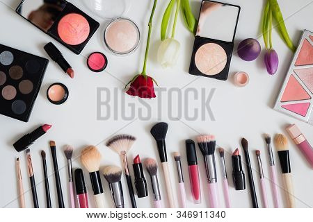 Make Up Concept: Professional Makeup Tools And Accessories. Lipstick, Mascara, Nail Polish, Eyeshado