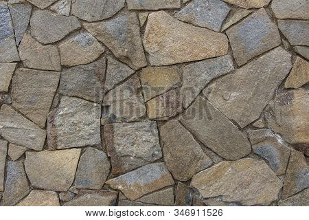 Old Stone Masonry Wall Texture Background, Banner With Irregular Pattern, Stone Texture Background D