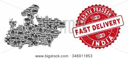 Logistics Mosaic Madhya Pradesh State Map And Distressed Stamp Seal With Fast Delivery Badge. Madhya