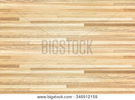 Hardwood Maple Basketball Court Floor Viewed From Above.