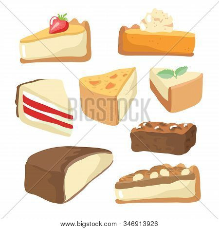 Valentines Day Food Collection Isolated On White Background: Cupcake, Brownie, Pecan Pie, Cheesecake