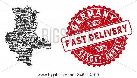 Travel Collage Saxony-anhalt Land Map And Distressed Stamp Watermark With Fast Delivery Words. Saxon