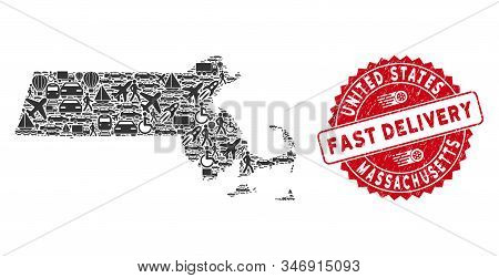 Delivery Mosaic Massachusetts State Map And Rubber Stamp Seal With Fast Delivery Badge. Massachusett
