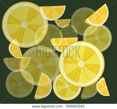 Lemon, Sliced Lemons And Leaves. Vector Illustration